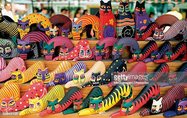 colorful cat souvenirs in a shop, key west, florida, usa - key west stock pictures, royalty-free photos & images