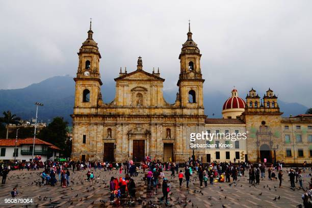 Colorful Cathedral of Bogota, Plaza Bolivar, Colombia