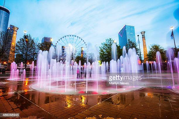 colorful centennial fountain at night - atlanta bildbanksfoton och bilder