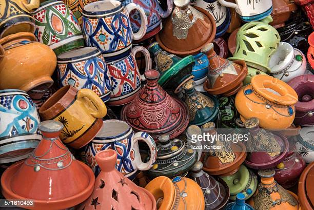 Colorful ceramic cups and tajin wares in in Fes