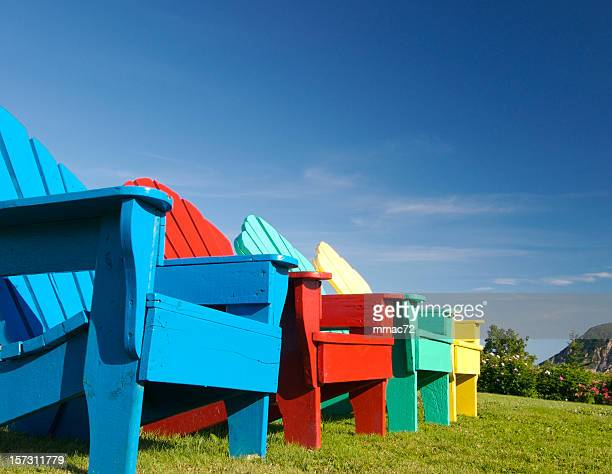 colorful chairs - june stock pictures, royalty-free photos & images