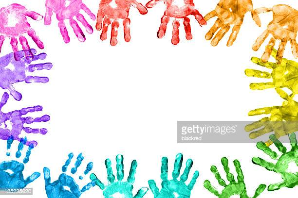 Colorful Children Hand Prints Frame