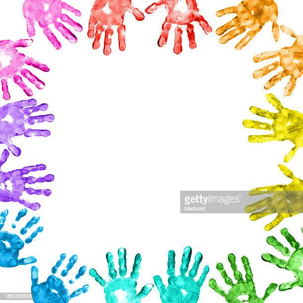 Colorful Children Handprints Border