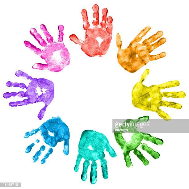 Colorful children handprints on a white background