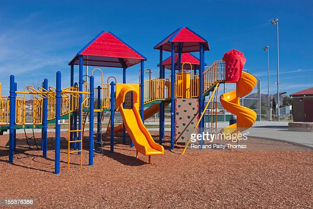Colorful children's playground with multiple slides
