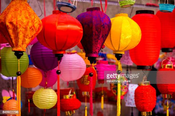 Colorful Chinese paper lantern Mid-Autumn Moon Festival 2017