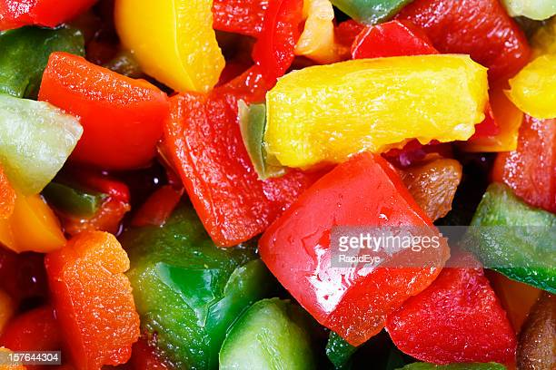 Colorful chopped bell peppers ready to cook or eat raw