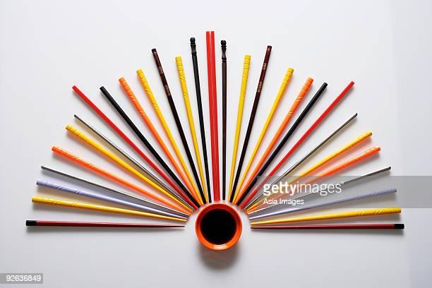 colorful chopsticks displayed like a fan