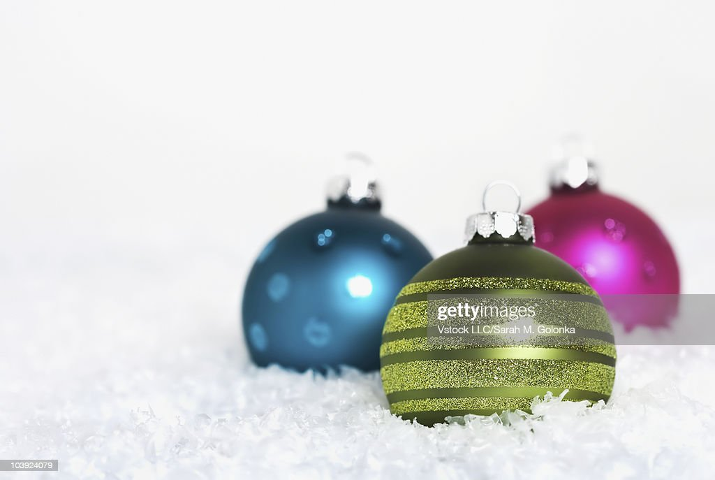 Colorful Christmas Balls.Colorful Christmas Balls In The Snow High Res Stock Photo