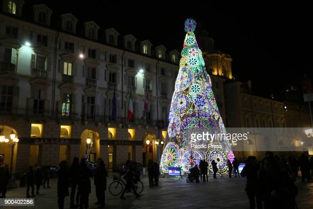 DOWNTOWN TURIN PIEDMONT ITALY Colorful christmas tree The northitalian city of Turin on the last days of the year 2017