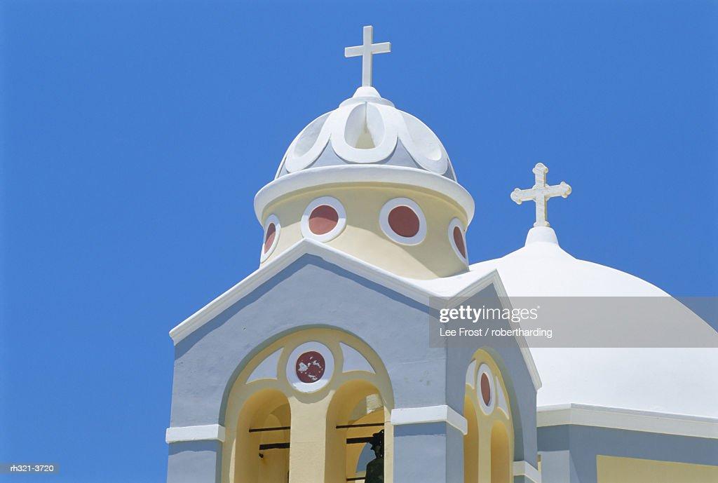 Colorful church, Firostephani, Santorini, Cyclades Islands, Greece : Stockfoto