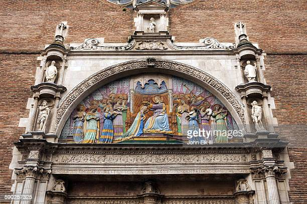 Colorful church tympanum in Toulouse
