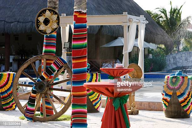 colorful cinco de mayo decorations at tropical resort, nobody - cinco de mayo stock pictures, royalty-free photos & images