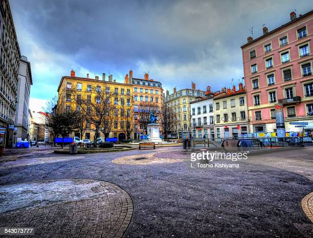 Colorful city square in Lyon, France