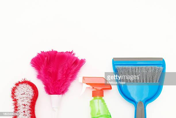 Colorful cleaning supplies lined in a row