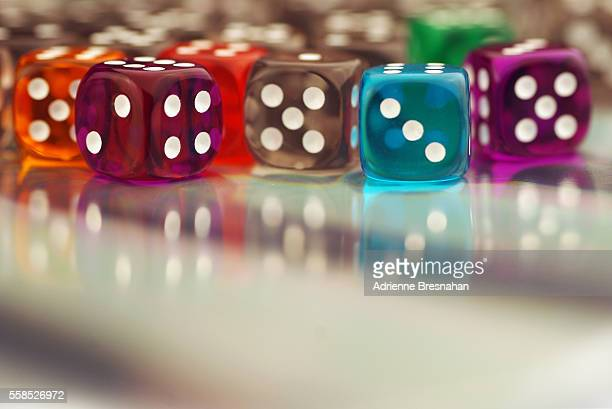 Colorful, Clear Dice With Reflections on Copy Space