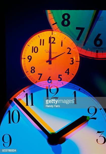 colorful clocks - daylight saving time stock pictures, royalty-free photos & images