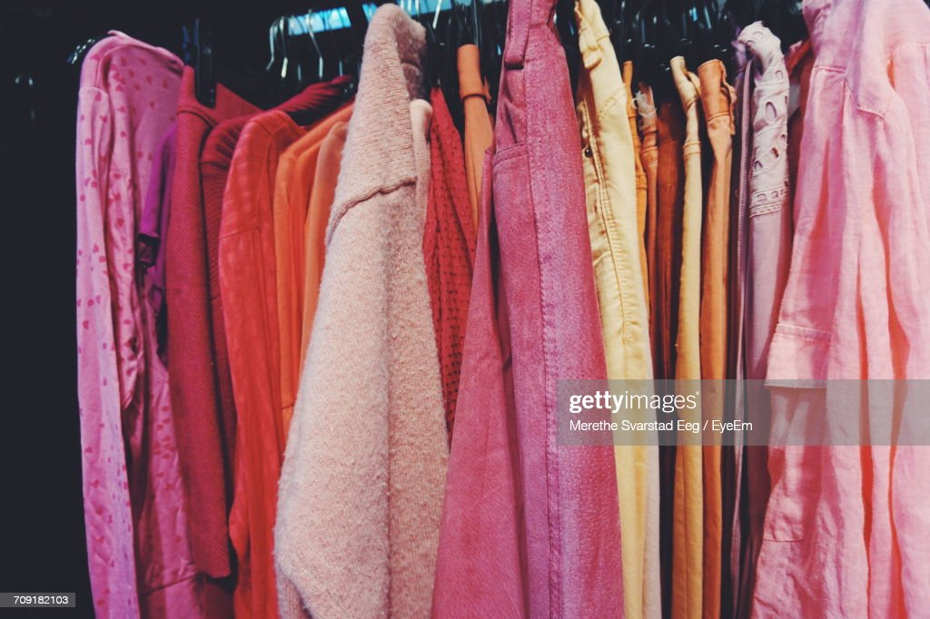 Colorful Clothes Hanging In Closet : Stock Photo
