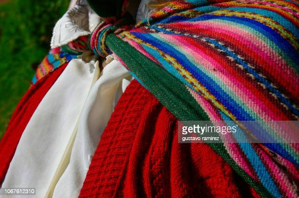 colorful clothes of woman from the Peruvian sierra