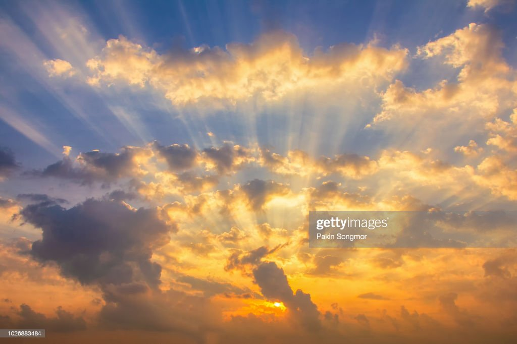 Colorful Clouds On The Dramatic Sunset Sky High-Res Stock ...