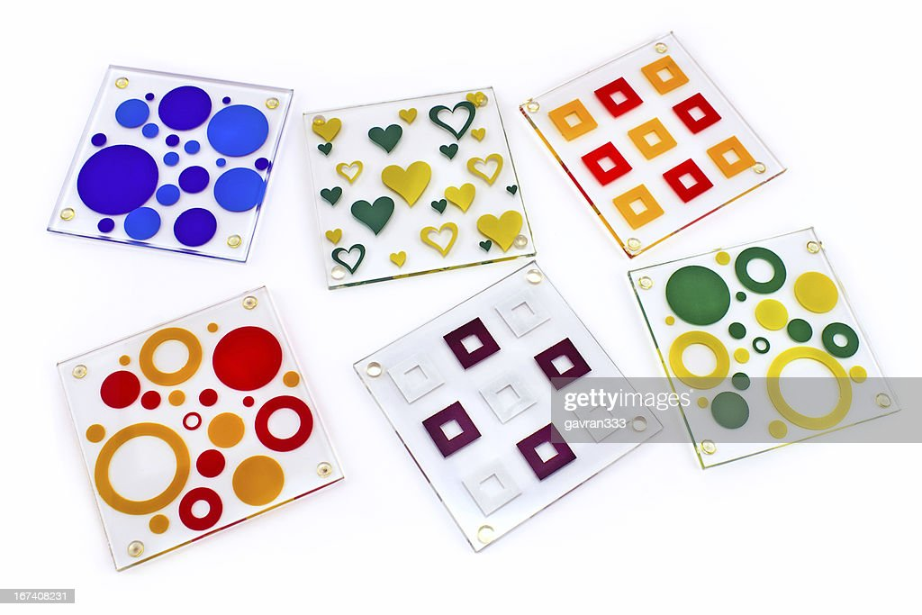 Colorful coasters for glass : Stock Photo