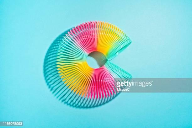 colorful coil spring curled up circle shape - espiral de metal - fotografias e filmes do acervo