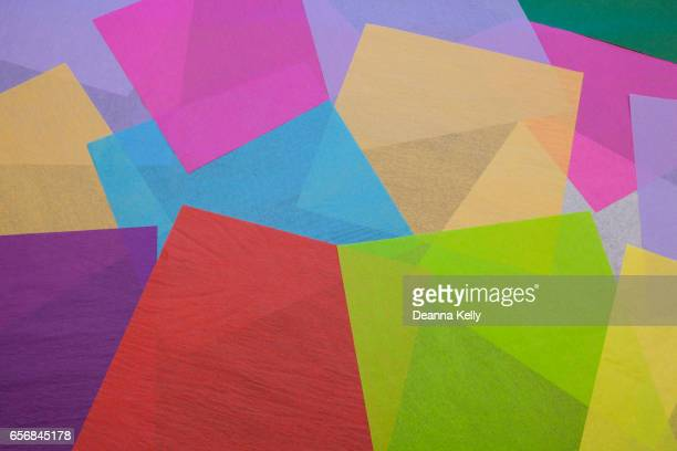 Colorful Collage of Tissue Paper Squares