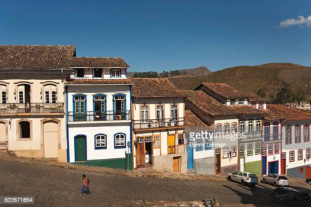 Colorful Colonial Architecture in Brazil's Historical City of Ouro Preto