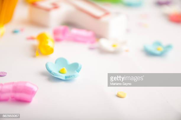 Colorful confetti, candies