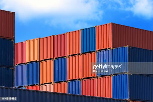 colorful container at port - box container stock pictures, royalty-free photos & images