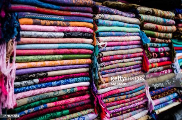 Colorful cotton materials, Jaffa, Israel
