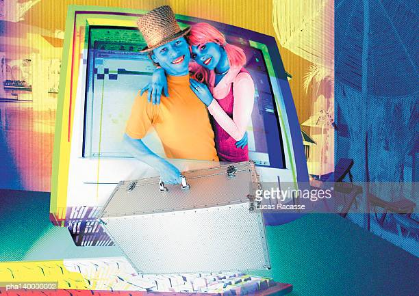 Colorful couple hugging, emerging from computer monitor, man holding luggage, digital composite.