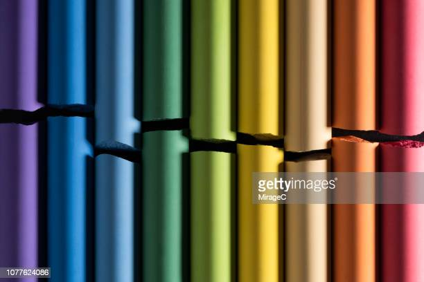 colorful cracked chalks - colors of rainbow in order stock pictures, royalty-free photos & images