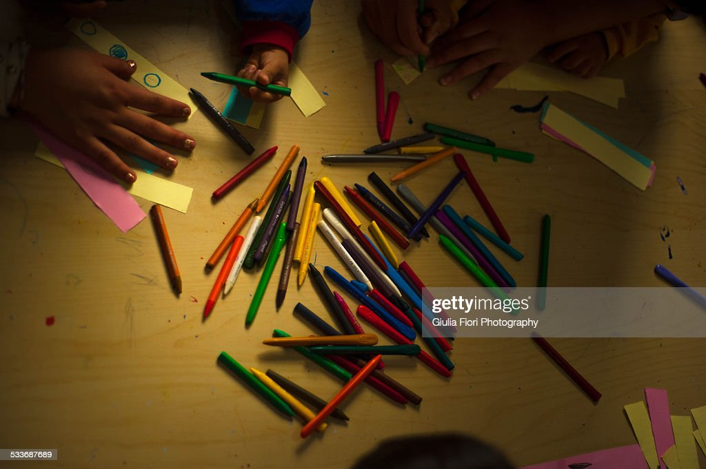 Colorful crayons on a table : Foto stock