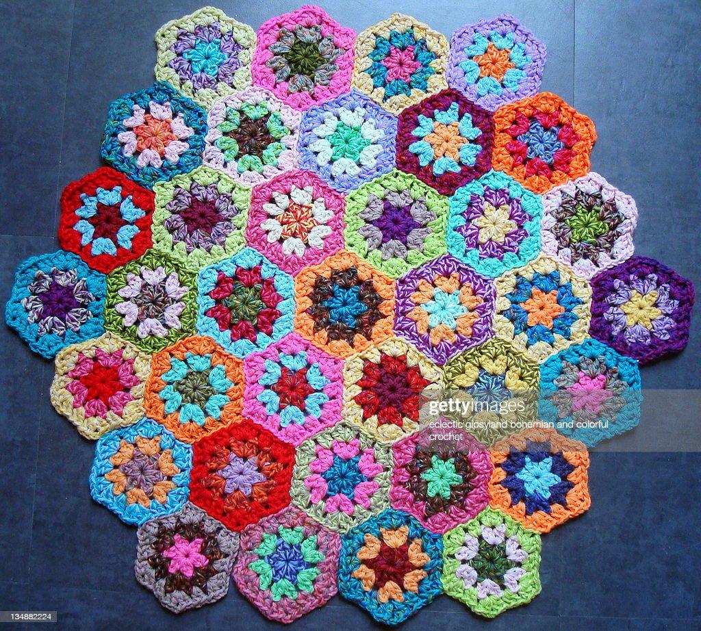 Colorful crochet hexagons : Stock Photo