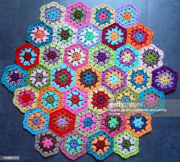 Colorful crochet hexagons