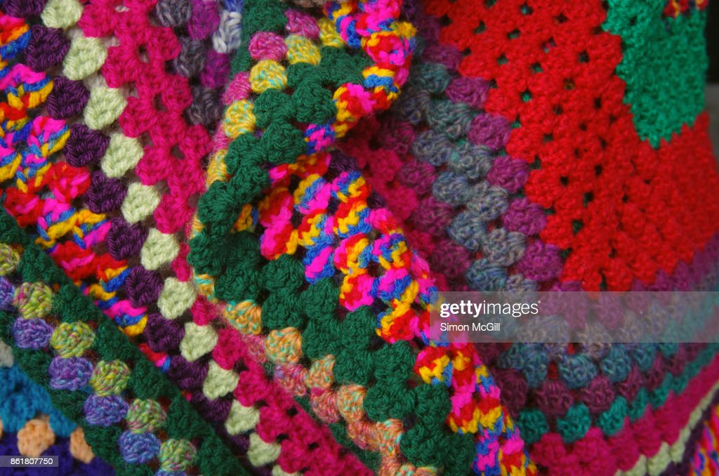 Colorful crotcheted blanket : Stock Photo