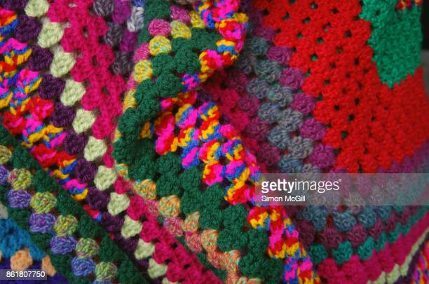 Colorful crotcheted blanket