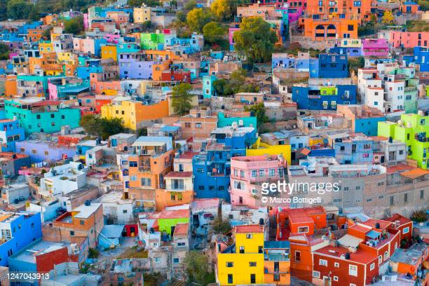 colorful crowded houses of guanajuato city, mexico - mexico stock pictures, royalty-free photos & images