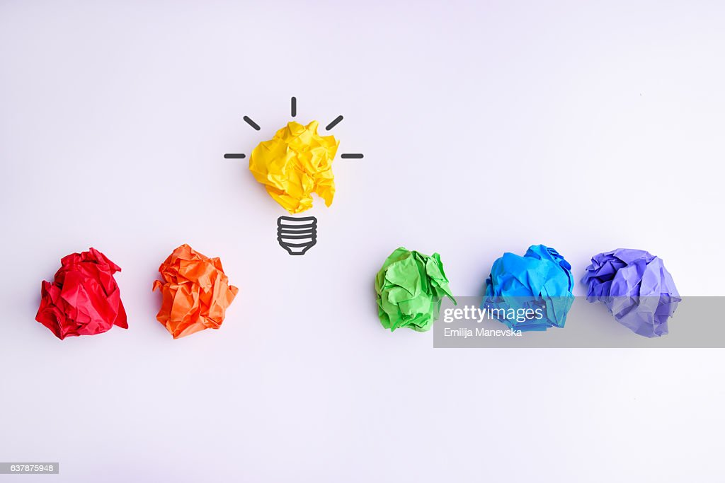 Colorful Crumpled Paper Balls : Stock Photo