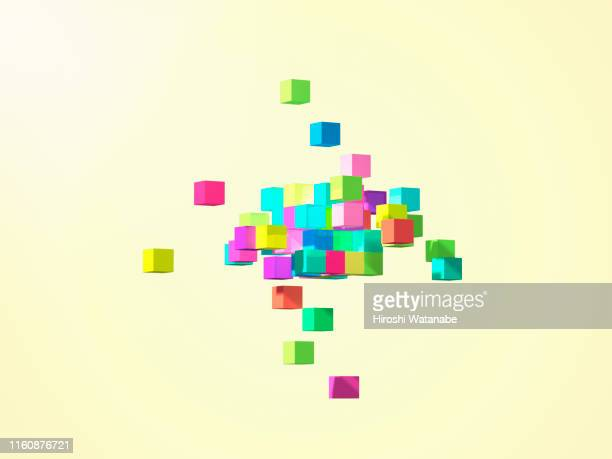 colorful cubes forming geometric shapes - toy block stock pictures, royalty-free photos & images