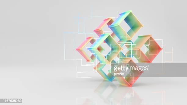 kleurrijke kubussen - blockchain stockfoto's en -beelden