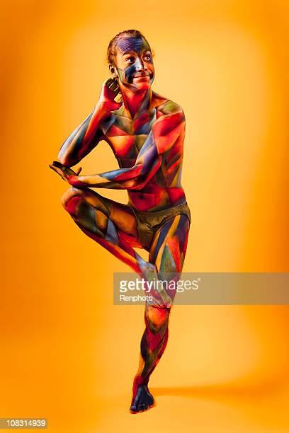 Colorful Cubism Body Paint