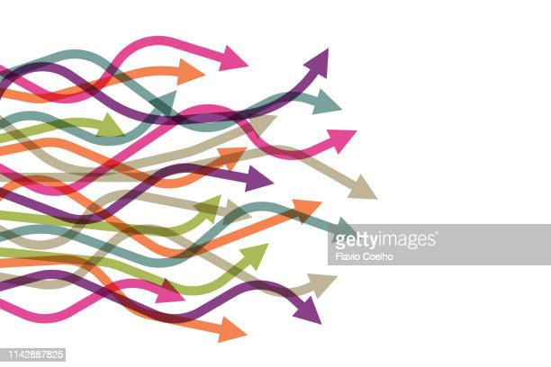 colorful curved arrows with different lengths pointing to very different directions - curved arrows - fotografias e filmes do acervo