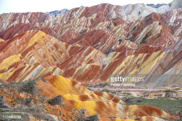Colorful danxia geological scenic spot in zhangye, northwest China's gansu province, Oct. 2, 2019.- PHOTOGRAPH BY Costfoto / Barcroft Media