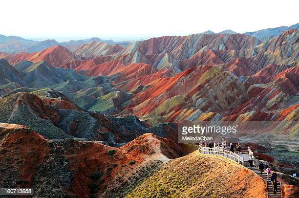 colorful danxia landform - gansu province stock pictures, royalty-free photos & images