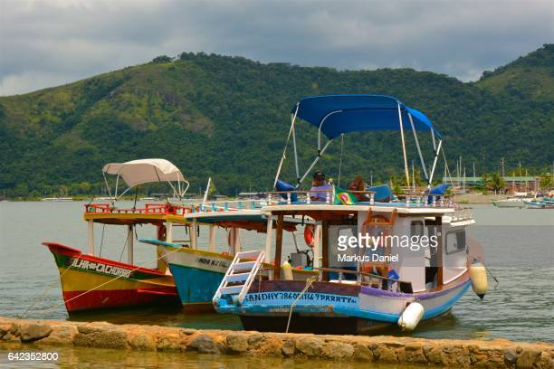 Colorful Day-Trip Tourist Boats in the town of Paraty, Rio de Janeiro