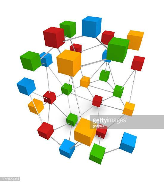 Colorful design of connected boxes in a complex network
