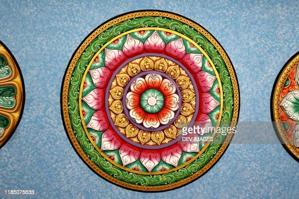 colorful designs on hindhu temple ceiling - hinduism stock pictures, royalty-free photos & images