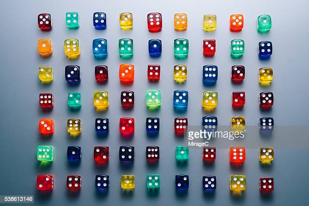 Colorful Dices Array Full Frame View